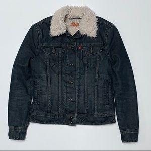LEVI'S Dark Wash Sherpa Fur Denim Trucker Jacket